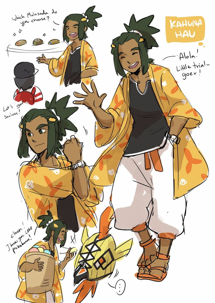 Just finished pokemon sun… And really want to draw grown-up Hau as kahuna! /Want to draw others kids as grown up too. UvU,,