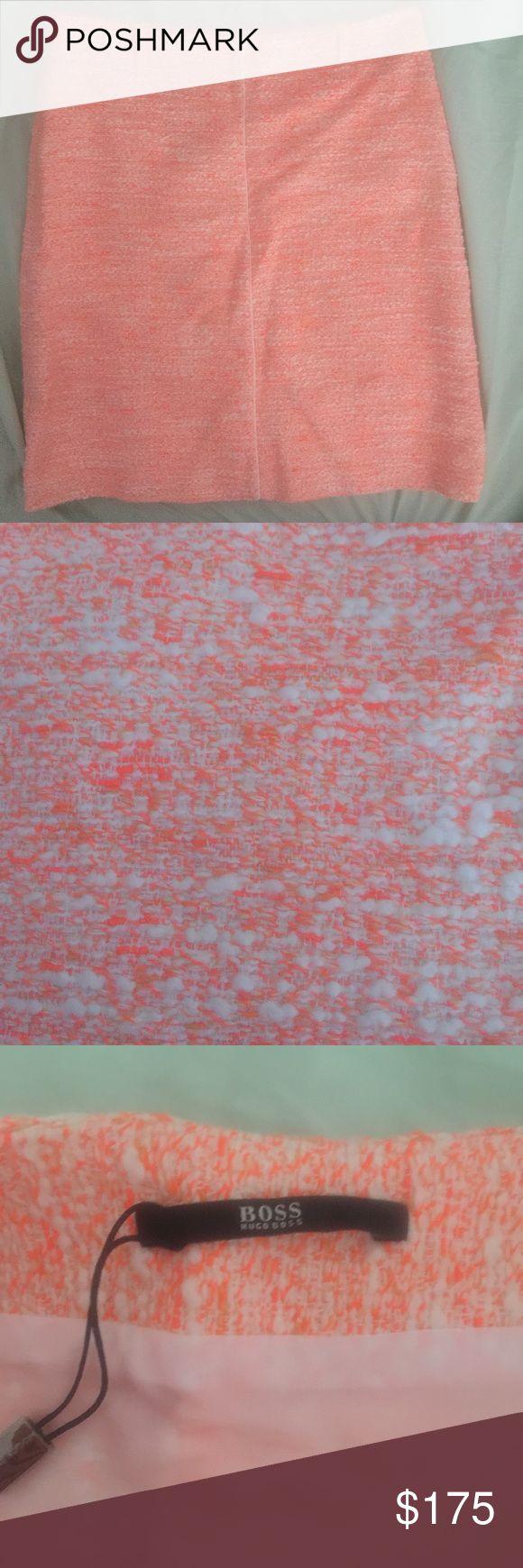 Hugo Boss Vaciline tweed skirt Tweed A-line knee length skirt. Orange/white tweed. Interior lining. Side zipper, belt loops. Hugo Boss Skirts A-Line or Full