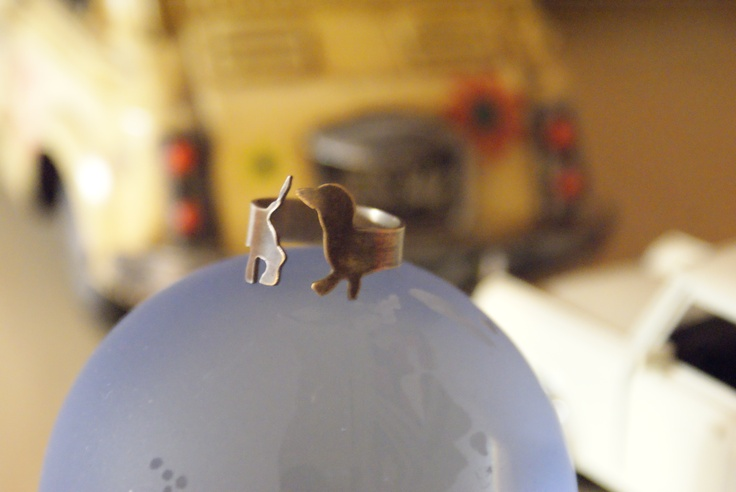 Catch my tail!   Handmade dachshund ring made from alpaca metal.   Gift for my sister (and her dog Mereda).
