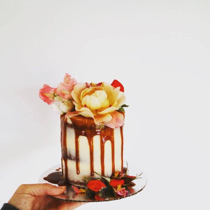 Mini semi-naked Wanaka elopement wedding cake with caramel drips