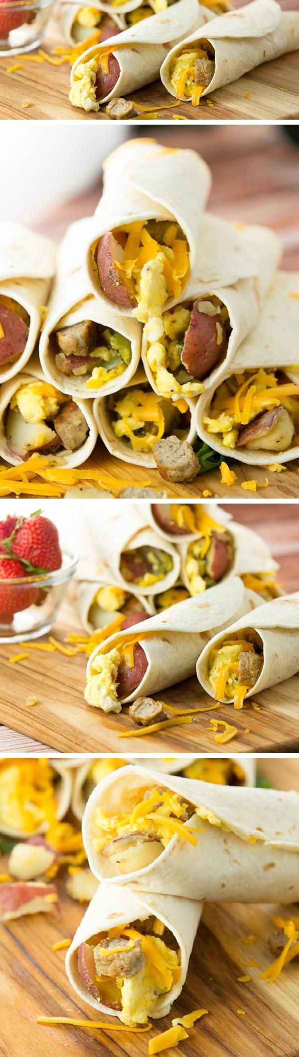 Simple BREAKFAST BURRITOS loaded with eggs, sausage, potatoes and cheese. Perfect for busy mornings. They freeze great too!