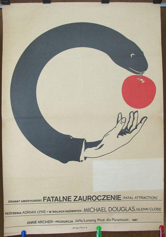 Fatal Attraction. Original poster for the famous US 1987 film. Polish poster by: Maciej Kalkus 1988. Home décor. Club décor. Pub décor.