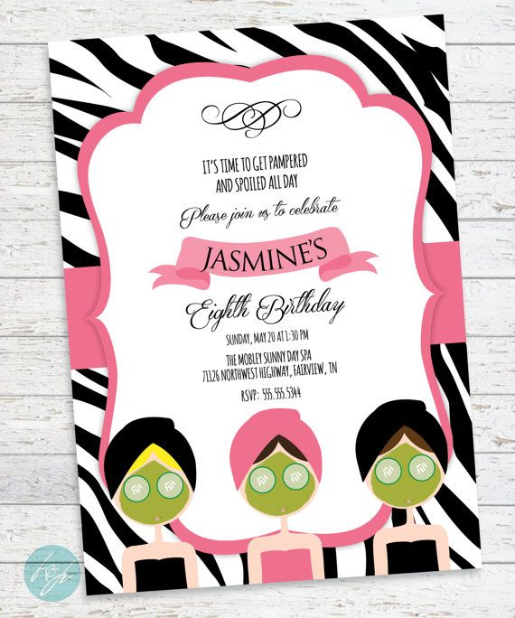 71 best spa party images on pinterest birthday party ideas spa spa birthday invitation spa day spa party by flairandpaper on etsy stopboris Gallery