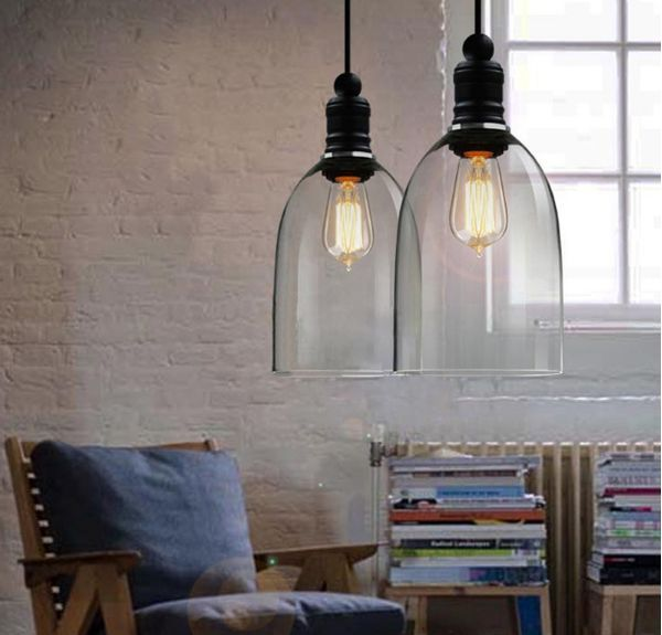 Retro Cafe DIY Huge Cover Ceiling Lamp Light Glass Pendant Lighting Edison  Bulb