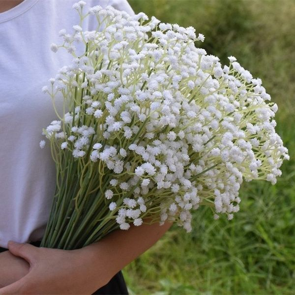 Artificial Baby Breath Flower Gypsophila White For Wedding Photo Props Home Decor 6 Bundles Wish Fake Flowers Artificial Flowers Babys Breath Flowers