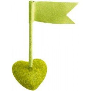 Drapeaux marque place vert amande sur socle coeur Les 6