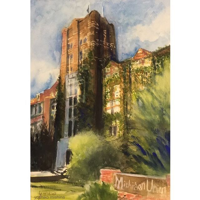 "Painting Ann Arbor --Michigan Union 2. Watercolor on paper. 13""x19"". I am painting Downtown Ann Arbor scenes. This one is a part of the University of Michigan. I did a little painting for a study of painting this building this summer, and now finished a bigger one with watercolor.  周囲からリクエストの多いアナーバーの風景を描いてます。夏にごく小さいサイズを描いて、今回は水彩画で大きく。サイズも画材も違うから、同じ対象描いてても、全くの別物を描いた感じです。 #watercolor #aclyricpainting #風景画 #aquarius #dailyart #painting #buildings #アナーバー #ミシガン…"