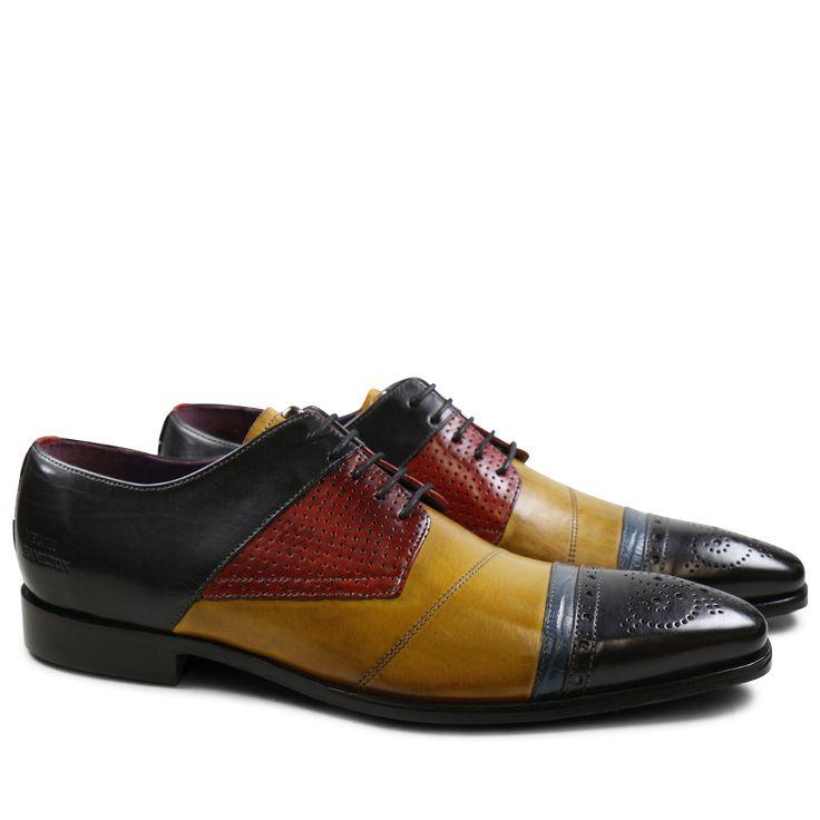 Derby Schuhe Elvis 14 Crust Black Yellow Big Croco Electric Blue Crust Perfo Red LS Black