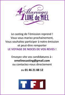 """TF1 partenaire de Concept Blog pour un mariage sur un blog et un casting sur """"4 mariages pour 1 Lune de Miel"""". laissez un message !"""