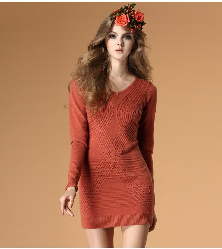Knitted long section wool sweater dress  $68.38