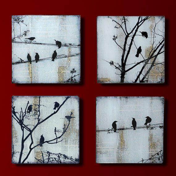Black Bird Set 4 handgemaakte glazen en houten muur Blox van