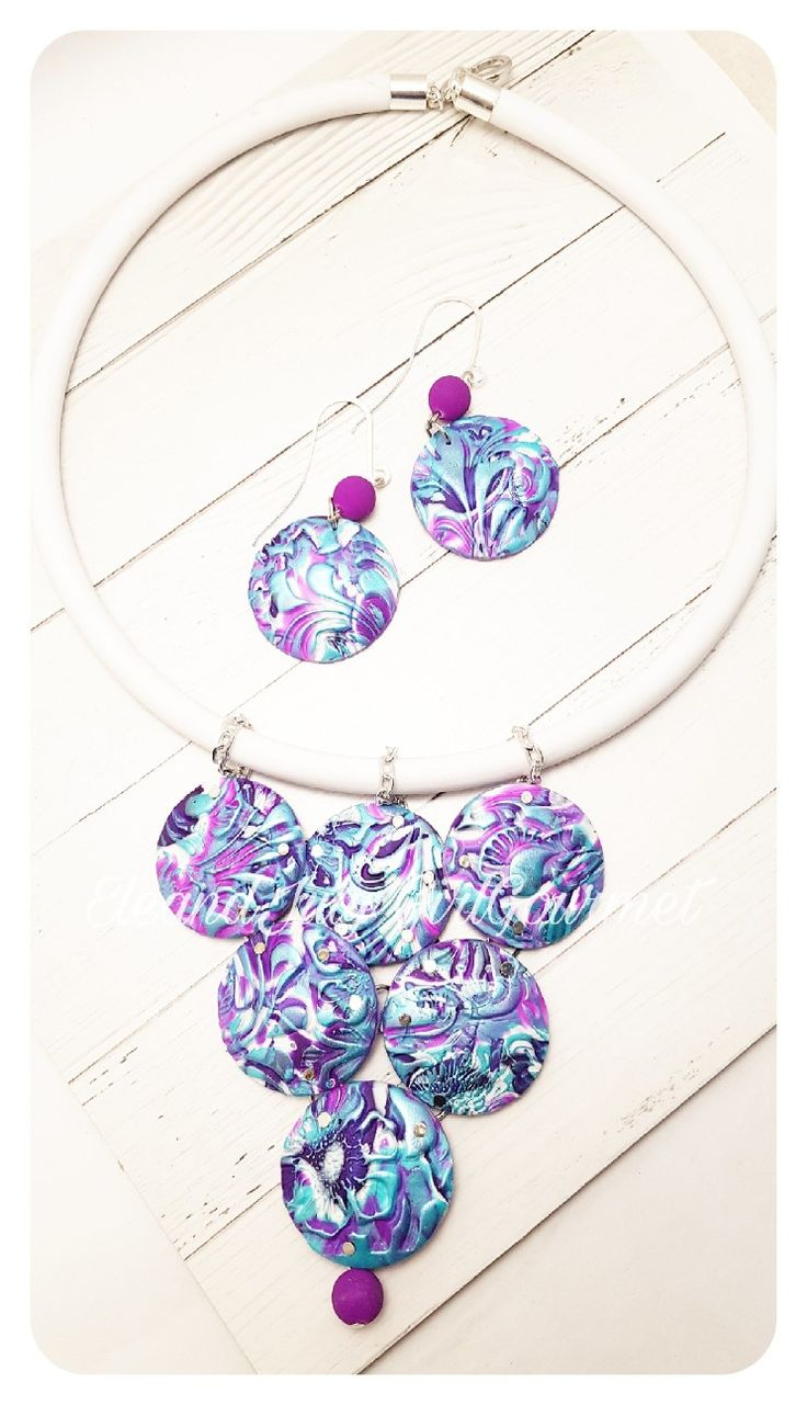 #handmade #polymerclay #ultraviolet #necklace #texture #inkagold