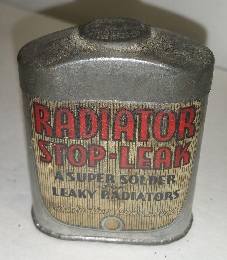 "1930's Car Automobile Radiator Stop Leak Graphic Tin 3"" tall Radiator Shaped!    eBay"