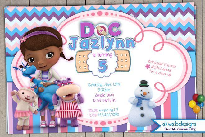 Doc Mcstuffins Birthday Invitations- ekwebdesigns