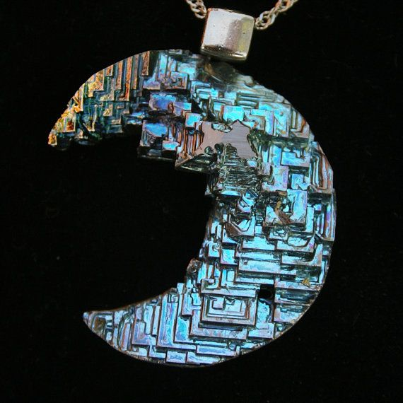 Blue Mountains of the Moon,  Iridescent Bismuth Metal Crystal