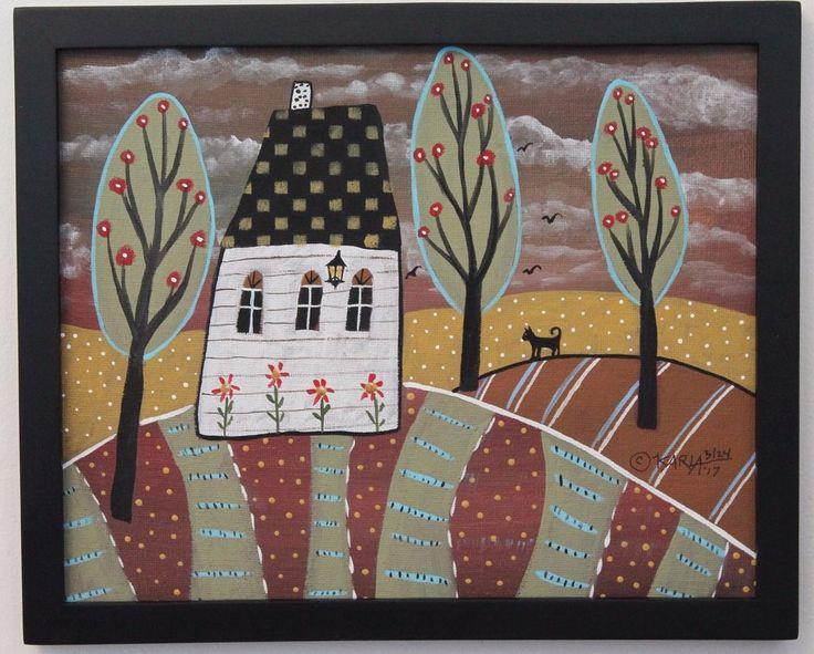 Watching Cat ORIG Framed Canvas Panel PAINTING FOLK ART 8 x 10 Karla Gerard #FolkArtAbstractPrimitive