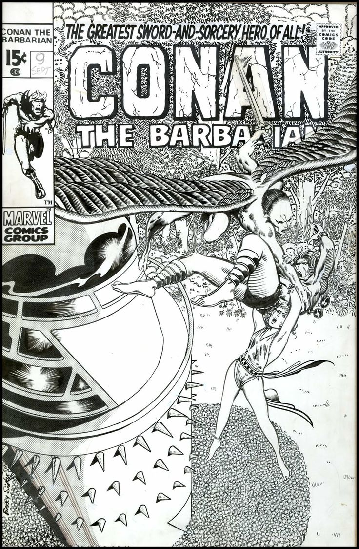 Barry Windsor Smith's alternative (rejected?) cover for the comic book that changed everything for me, Conan the Barbarian #9.