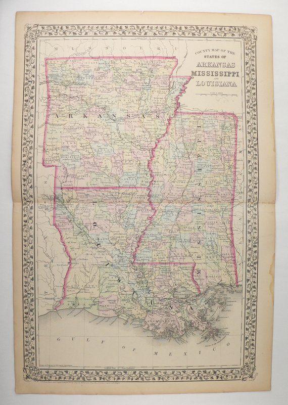 Vintage Gulf Coast State Map, Louisiana Mississippi and Arkansas Map ...