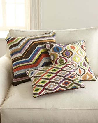 """Bargello"" Pillows by Jonathan Adler at Horchow. -- Love the variety of colors in these pillows!"