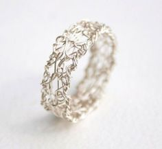 wire crochet ring. One of my first crochet rings. Links through to a tutorial for a bracelet.