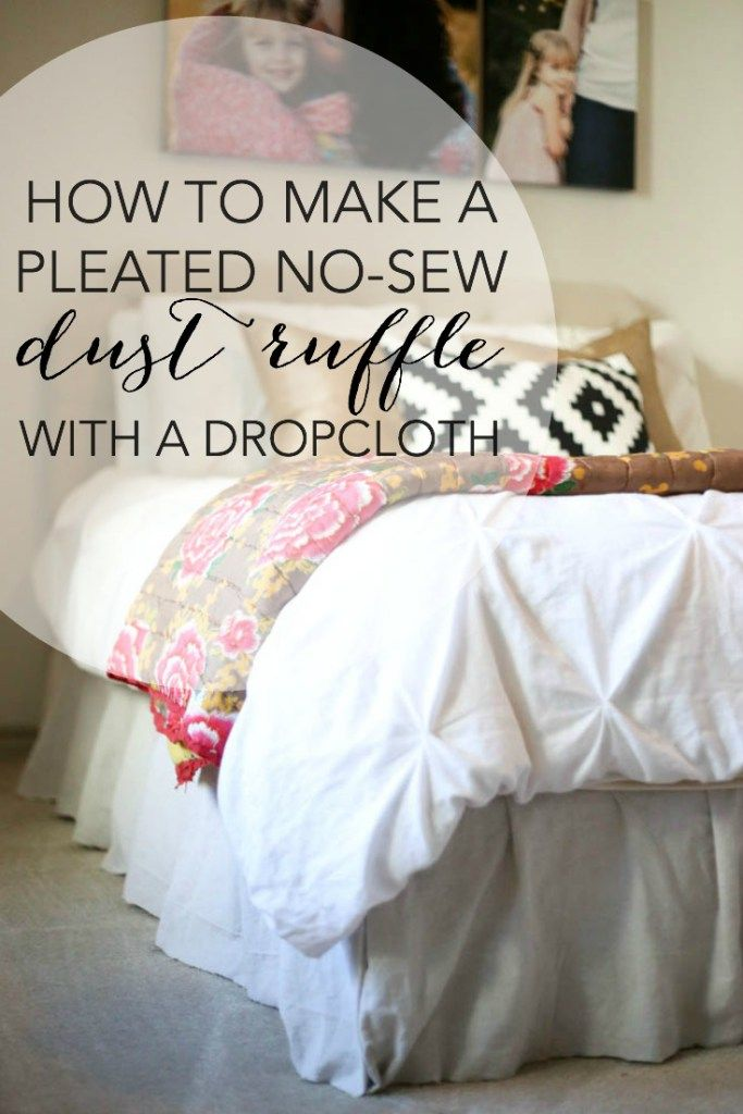 no sew pleated drop cloth dust ruffle tutorial