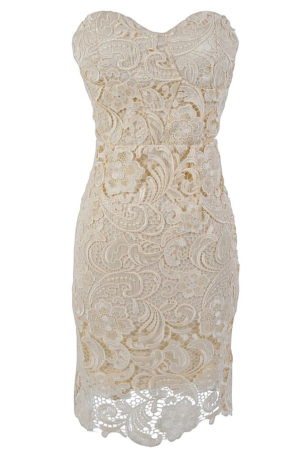 Bella Glamorous Floral Lace Strapless Bustier Dress in Cream www.lilyboutique.com