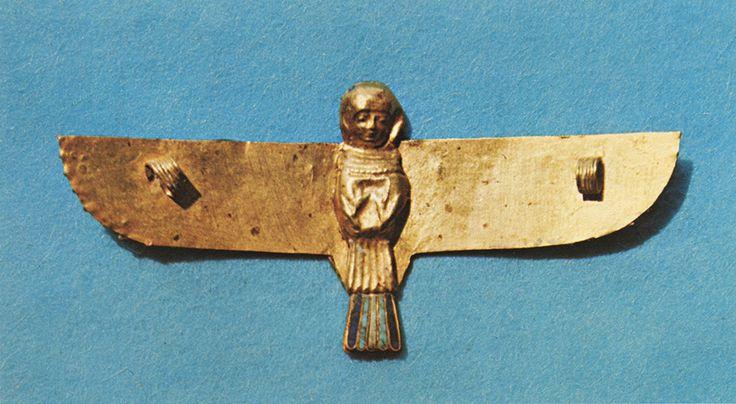 Ba-bird Pectoral Pendant Gold, inlaid with lapis lazuli, turquoise and steatite. Ptolemaic Period Saqqara
