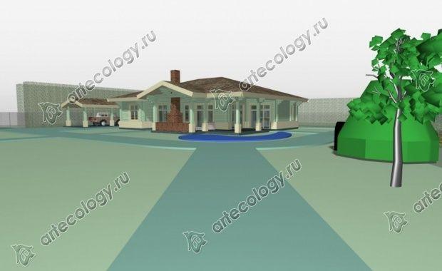 """Вид на дом из глубины участка, слева выглядывает машина под навесом и справа погреб, обвалованый землей - """"Домик Хоббита"""""""