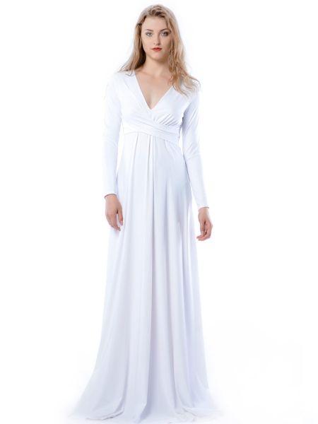 Magdalena Maxi Hypnotic White - biała wysmuklająca suknia