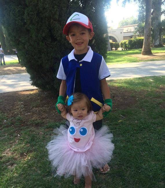 Child's Ash Costume. Pokemon Go. Shirt with vest gloves