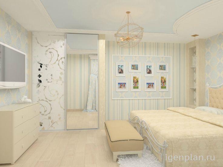 Квартира для семейной пары.  «Доска почета» в спальне, где можно вывесить все любимые фото. http://igenplan.ru/interior/kvartira-kottedzh/2-kh-komnatnaya-kvartira4817/ Дизайнер: Юлия Шиляева.
