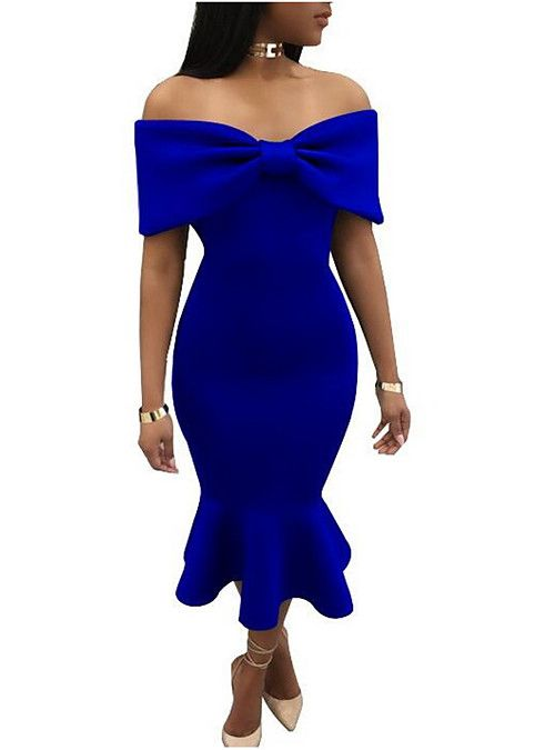 0e69ba4acfa2 Women's Off Shoulder Daily Slim Bodycon Dress - Solid Colored Strapless  Summer Black Red Royal Blue L XL XXL / Ruffle 2019 - US $37.79