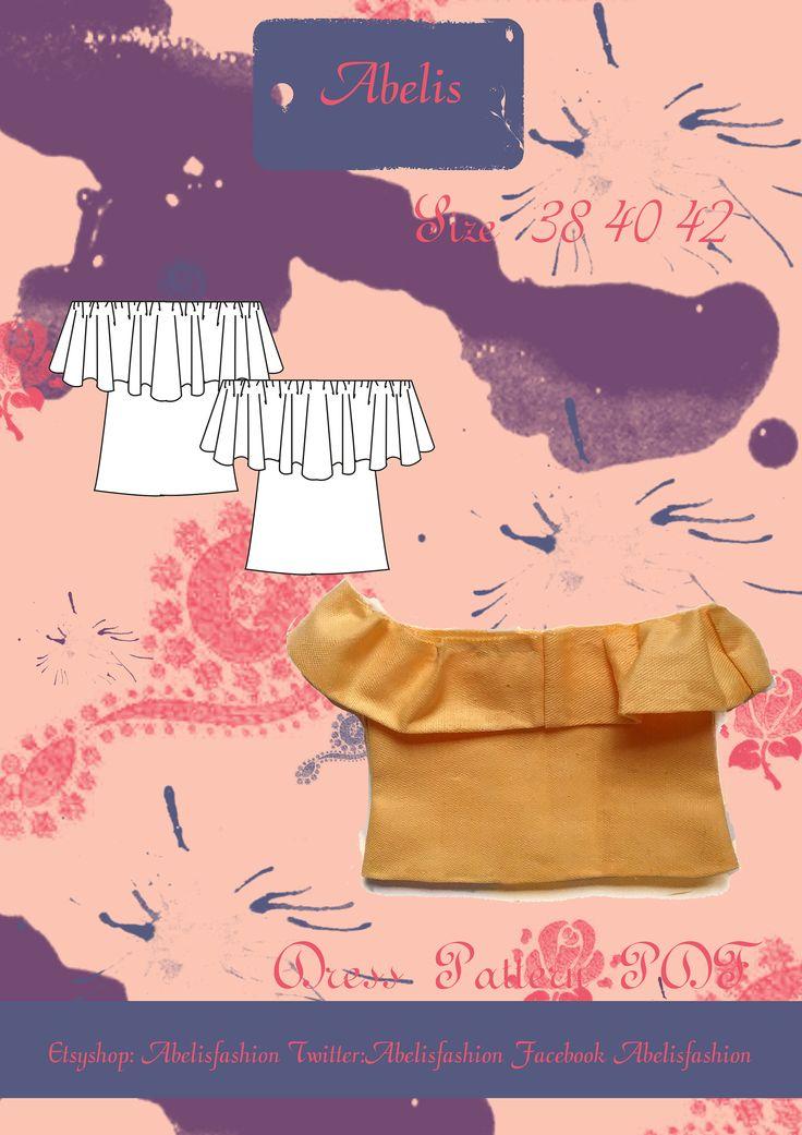 Patrón camiseta mujer, Camiseta sin hombros, camiseta verano, camiseta holgada, talla 38/42 PDF ES IN descargar de AbelisFashion en Etsy