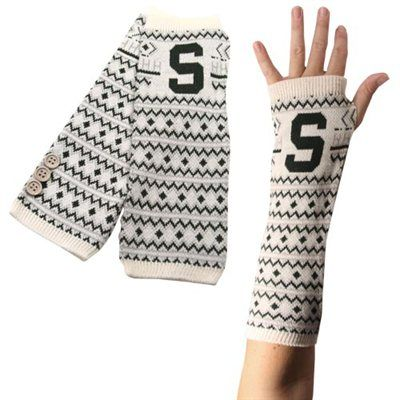 Michigan State Spartans Knit Arm Warmers - White