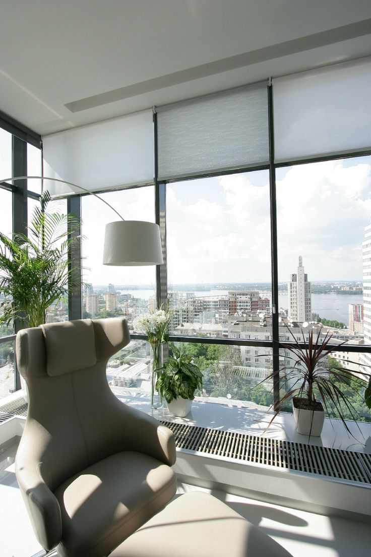Apartments:Awesome Modern Apartment With Lovely Office Interior Design With Modern Office Chair Charming Arch Lamp Fresh Plants In Pots Near Widows With City View For Office Apartment Decor Also Modern Apartment Living Room Ideas Glowing white Interior Design Ideas for Modern Apartment Living Room Ideas