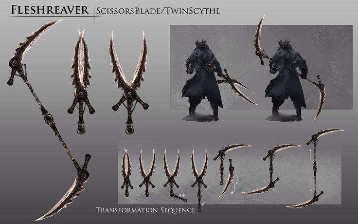 Bloodborne Concept Art - The Fleshreaver a.k.a. Scissorsblade/ Twinscythe