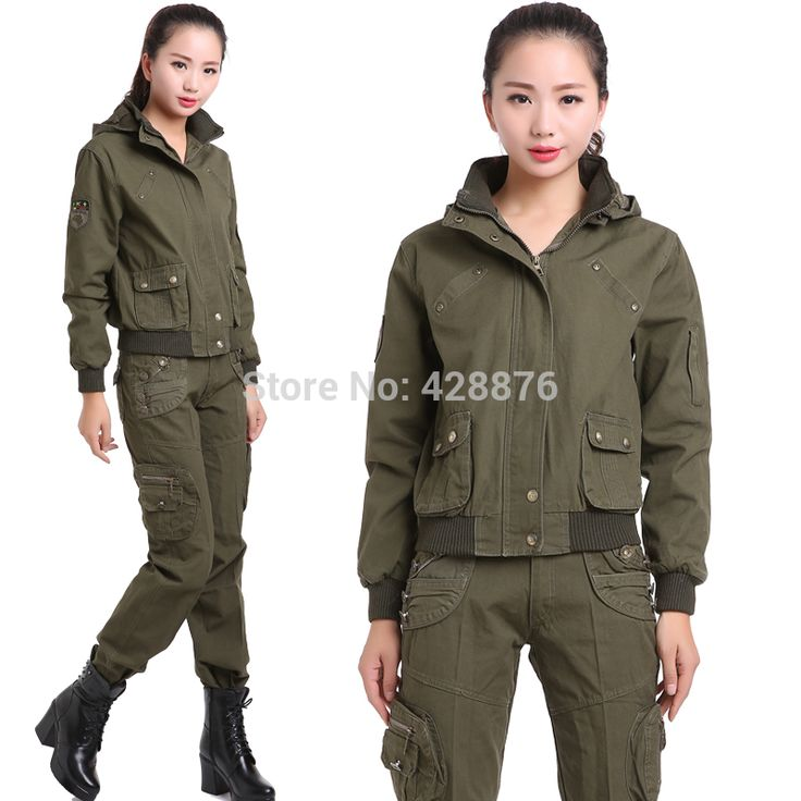 New 2017 Spring autumn casual female olive jacket outerwear trousers set camouflage twinset Military Suit