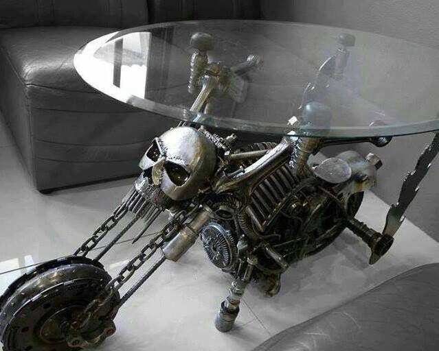 Badass Skull Motorcycle Table My Future Home Pinterest