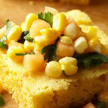 Sweet Corn Salsa — Corn and cantaloupe. Going to have to try it. Changing the cantaloupe to pineapple