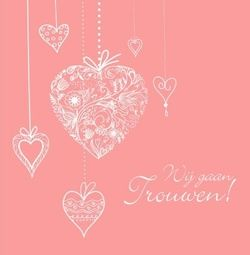 Trouwkaart roze kaart met hangende witte harten. Kies de kaart, pas de tekst aan en vraag een gratis proefdruk op (je betaalt zelfs geen verzendkosten!). http://www.trouwpost.nl/trouwkaarten/hartjes/