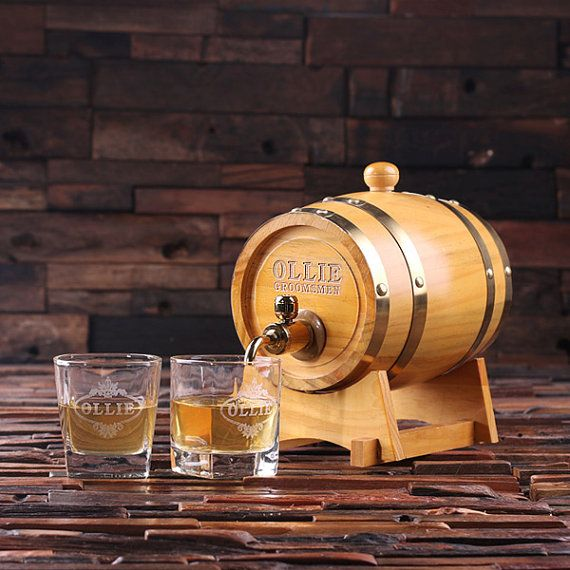 Set of 6 -- 1.5 L Personalized Whiskey Barrel Unique Groomsmen, Men's Christmas, Man Cave Gift