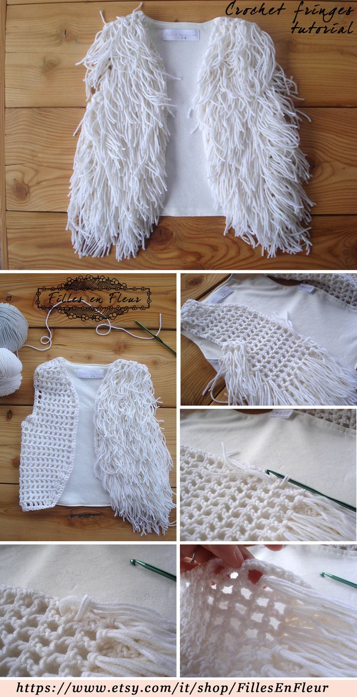 Crochet tutorial, fringes vest by fillesenfleur #babyclothing #babygirl…