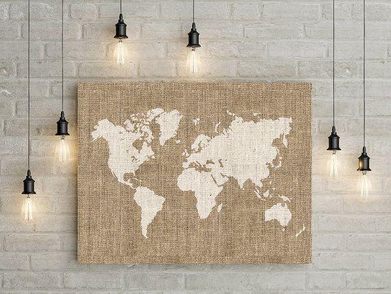 Printable burlap world map wall art, Rustic wall decor, Home wall print,  World