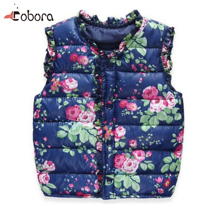 Outerwear Coats Flower Printed Thick Princess Girls Vest Hooded Jackets Baby Girl Warm Waistcoat Toddler Outerwear Coats