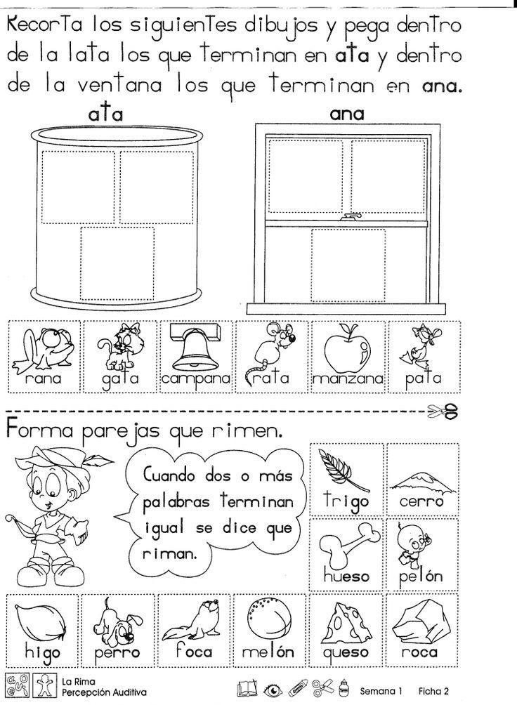 La rima: 1. Recorta los dibujos y pega dentro de la lata los que terminan en ata y de la ventana los que terminan en ana. 2. Forma parejas que rimen.