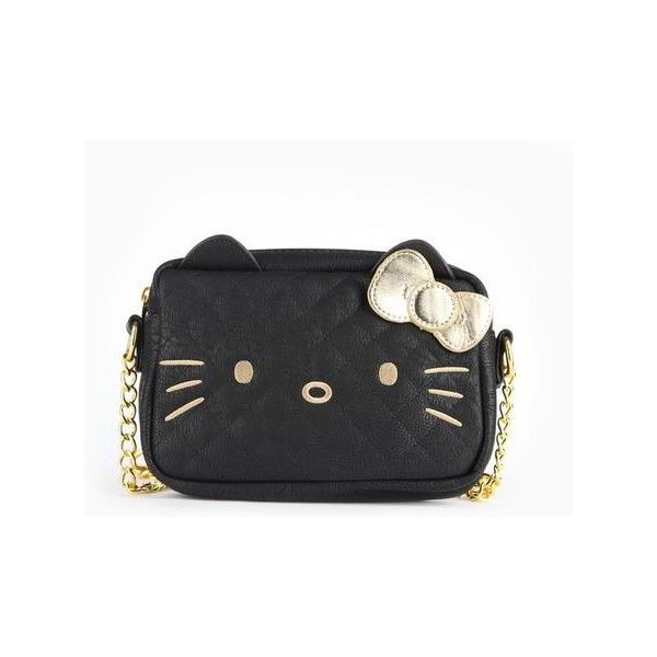 Hello Kitty Crossbody Bag Gold on Black ($48) ❤ liked on Polyvore featuring bags, handbags, shoulder bags, quilted crossbody purse, hello kitty handbags, hello kitty purse, quilted shoulder bag and quilted purses
