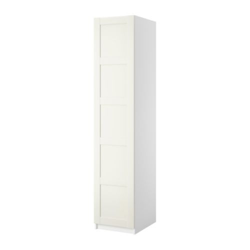 PAX Armario con 1 puerta - Bergsbo blanco, blanco, 50x38x201 cm, bisagras estándar - IKEA