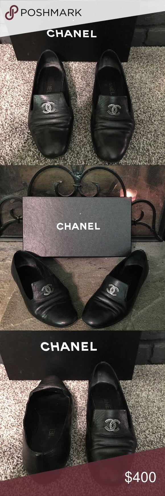 Authentic CHANEL  Black leather loafers Authentic Chanel black leather flats/loafers in great condition no scratches or fading on leather.Inside Chanel logo has some fading true to wear and bottom soles have been replaced . Comes with original box . CHANEL Shoes Flats & Loafers