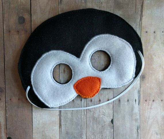 Felt Penguin Mask, Elastic Back, Black, Orange and White Acrylic Felt, Made in USA, Cosplay, Costume, Dress Up Animal Mask, Photo Booth Prop