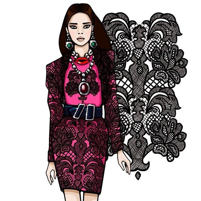 #illustration #fashion_art #fashionmagazine #fashionillustration #lace #girlsinbloom #dinainbloom #lanvin #moscow #иллюстрация #москва